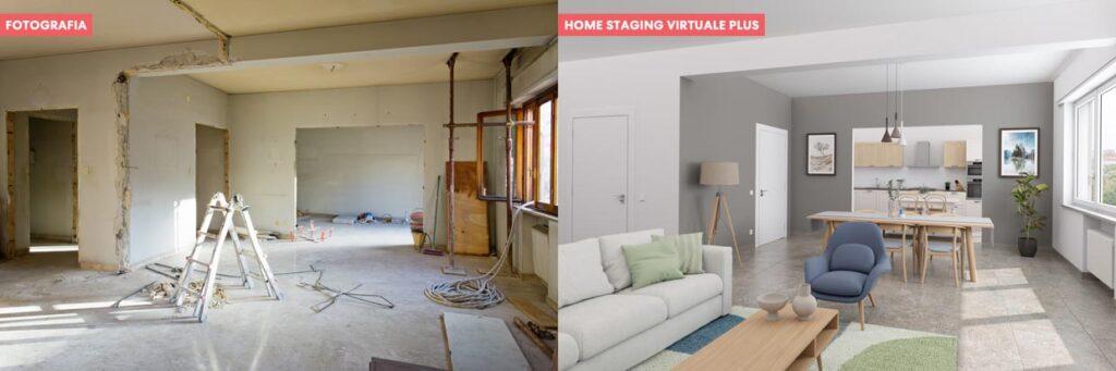 Home staging virtuale per stanze al grezzo